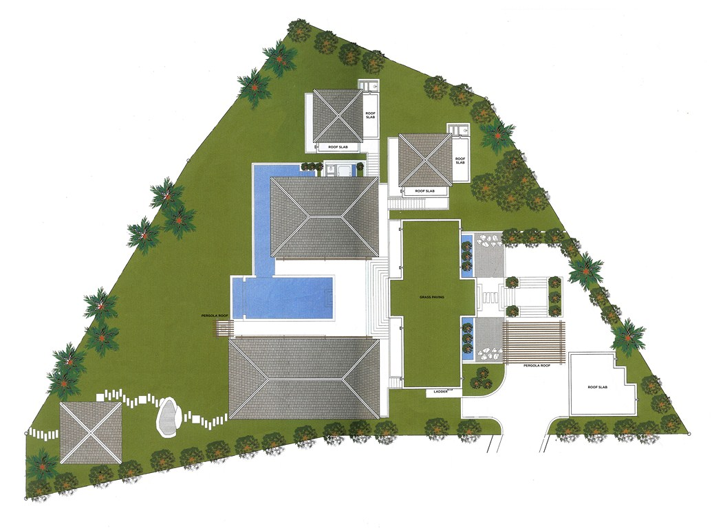 Floor plans beachfront villa for sale phuket for Birds eye view house plan